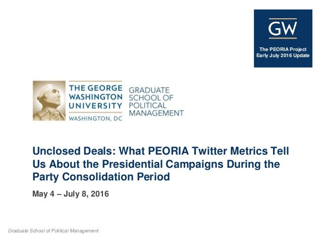 Graduate School of Political Management The PEORIA Project Early July 2016 Update Unclosed Deals: What PEORIA Twitter Metr...