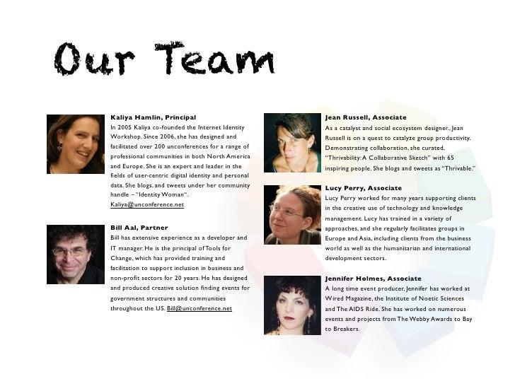 Our Team  Kaliya Hamlin, Principal                              Jean Russell, Associate  In 2005 Kaliya co-founded the Int...