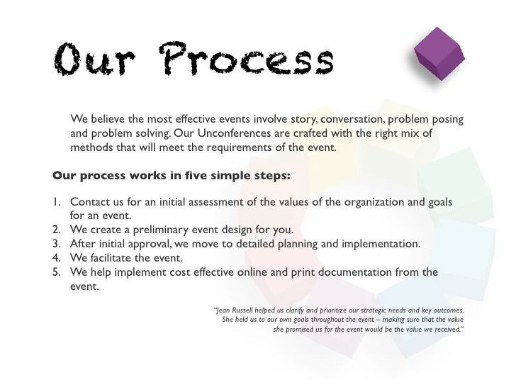 Our Process   We believe the most effective events involve story, conversation, problem posing   and problem solving. Our ...