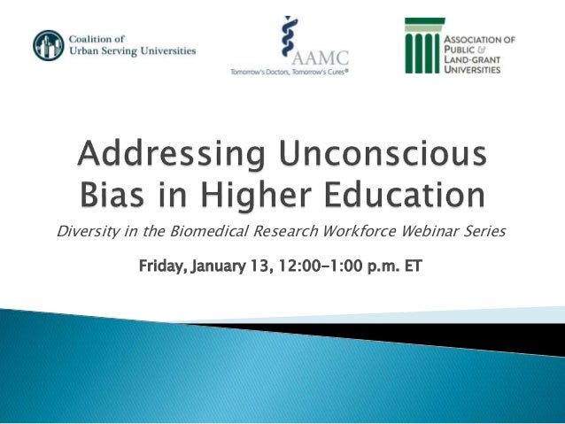 Diversity in the Biomedical Research Workforce Webinar Series Friday, January 13, 12:00-1:00 p.m. ET
