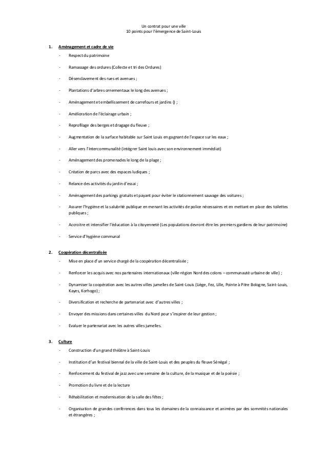 Un contrat pour une ville 10 points pour l'émergence de Saint-Louis 1. Aménagement et cadre de vie - Respect du patrimoine...