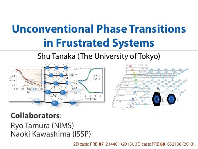 Unconventional Phase Transitions in Frustrated Systems Shu Tanaka (The University of Tokyo) Collaborators: Ryo Tamura (NIM...
