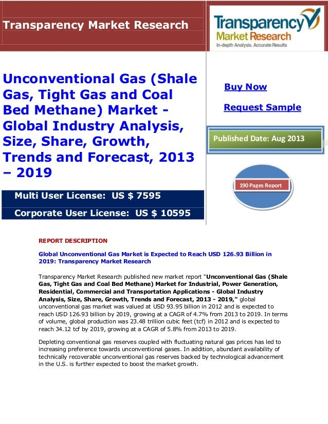 REPORT DESCRIPTION Global Unconventional Gas Market is Expected to Reach USD 126.93 Billion in 2019: Transparency Market R...