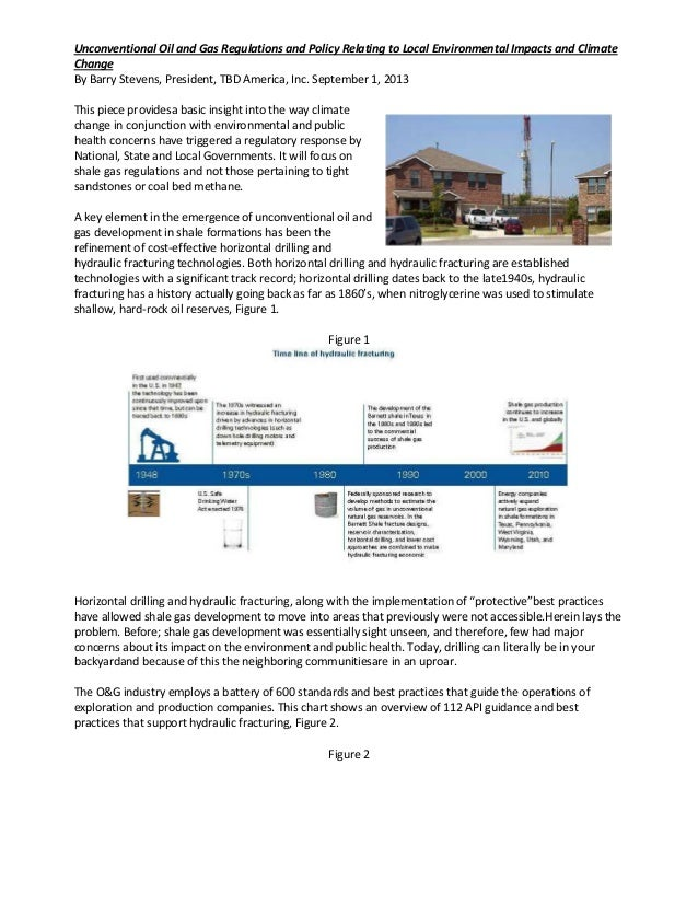 Unconventional Oil and Gas Regulations and Policy Relating to Local Environmental Impacts and Climate Change By Barry Stev...