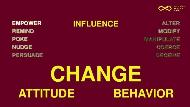 CHANGE ATTITUDE BEHAVIOR EMPOWER REMIND POKE NUDGE PERSUADE ALTER MODIFY MANIPULATE COERCE DECEIVE INFLUENCE