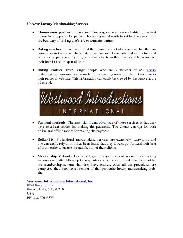 international matchmaking services