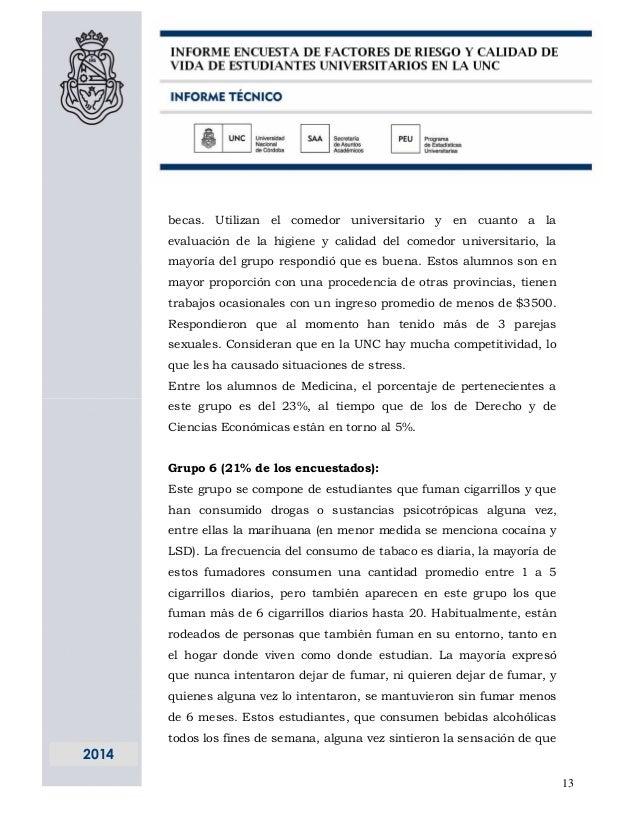 Informe de calidad de vida de los estudiantes de la unc for Comedor universitario unc