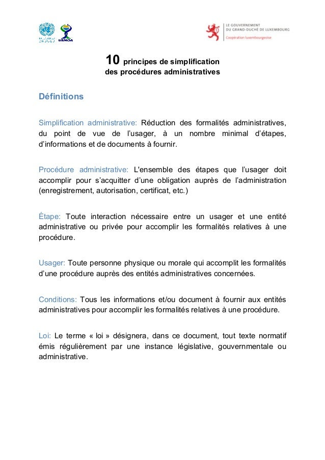 10 principes de simplification                   des procédures administrativesDéfinitionsSimplification administrative: R...