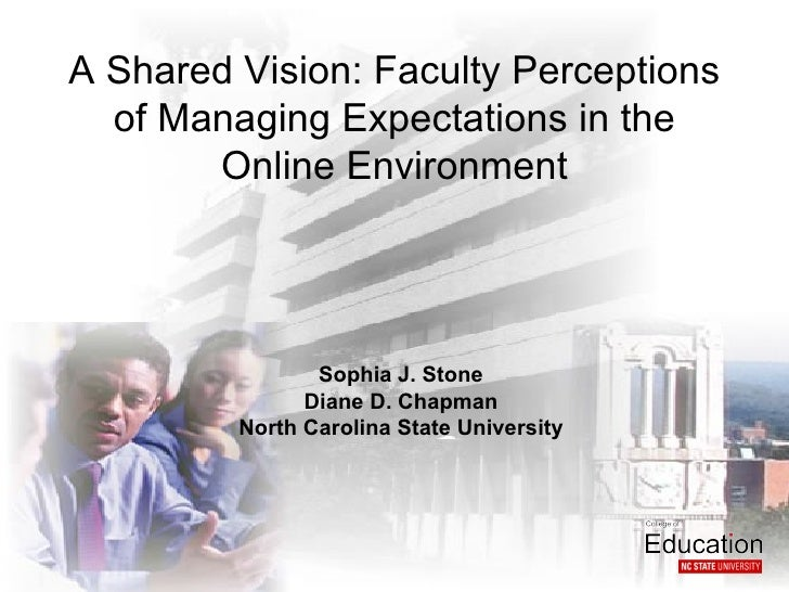 A Shared Vision: Faculty Perceptions  of Managing Expectations in the       Online Environment                Sophia J. St...