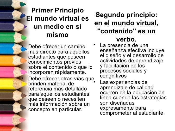 Primer Principio                     Segundo principio: El mundo virtual es                     en el mundo virtual,    un...