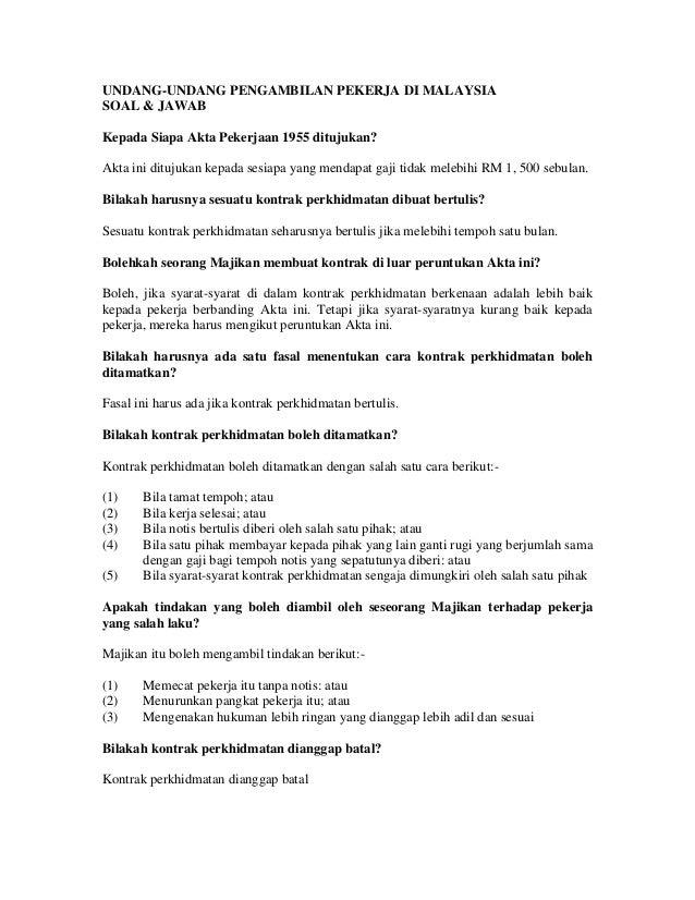 UNDANG-UNDANG PENGAMBILAN PEKERJA DI MALAYSIA SOAL & JAWAB Kepada Siapa Akta Pekerjaan 1955 ditujukan? Akta ini ditujukan ...