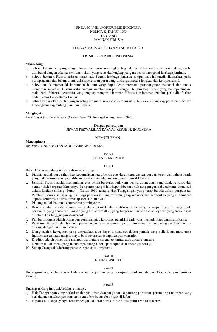 UNDANG-UNDANG REPUBLIK INDONESIA                                         NOMOR 42 TAHUN 1999                              ...