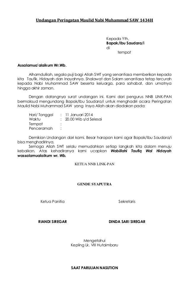 contoh undangan peringatan maulid nabi muhammad saw 1434 h