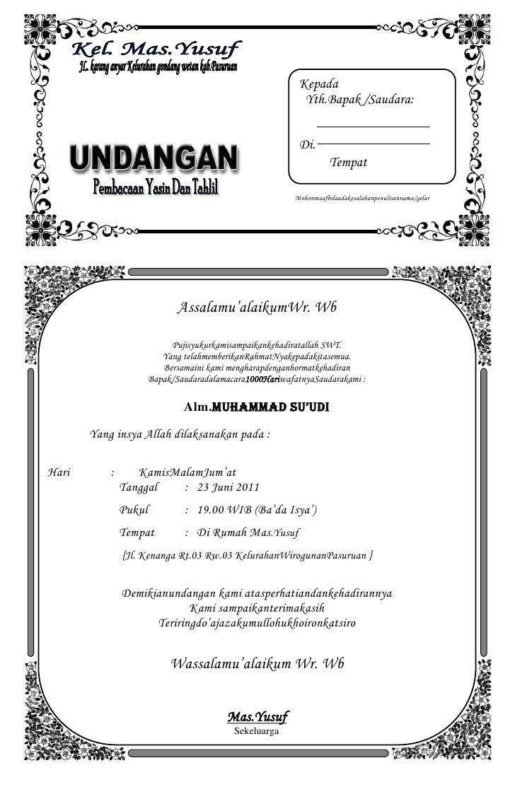 Template Undangan Tasyakuran Ms Word Undangan Tahlil Doc