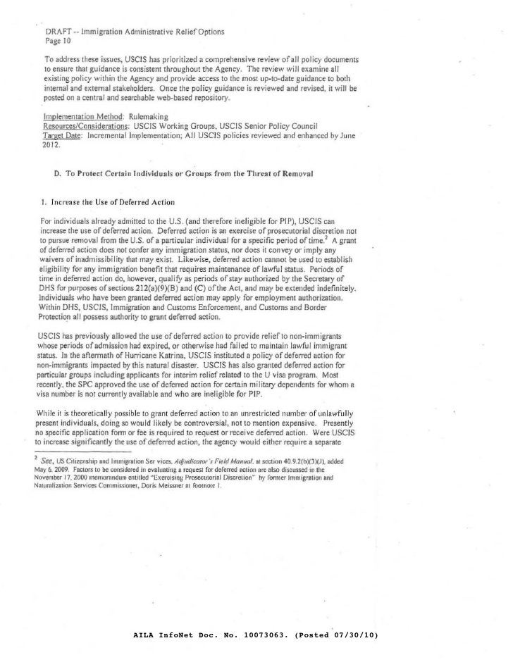 DRAFT·· Immigration AdminiSirative ReJiefOplions     Page 10     To address these issues, USCIS has prioritized a comprehe...