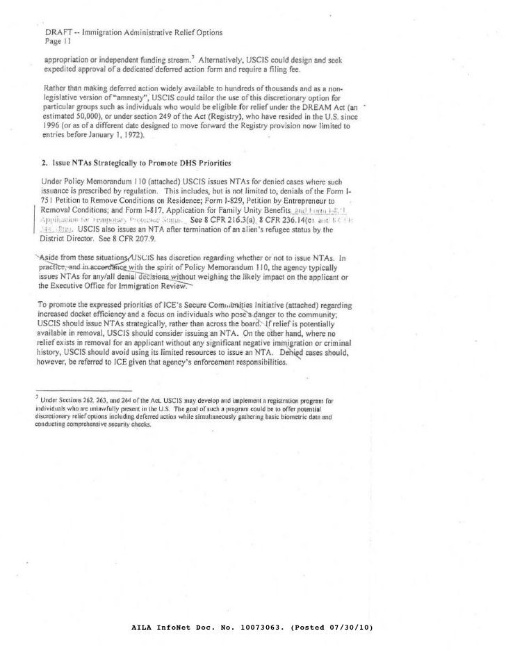 DRAFT •• Immigration Administrative Relief Options    Page I J     appropriation or independenl funding stream. 1 Alternat...