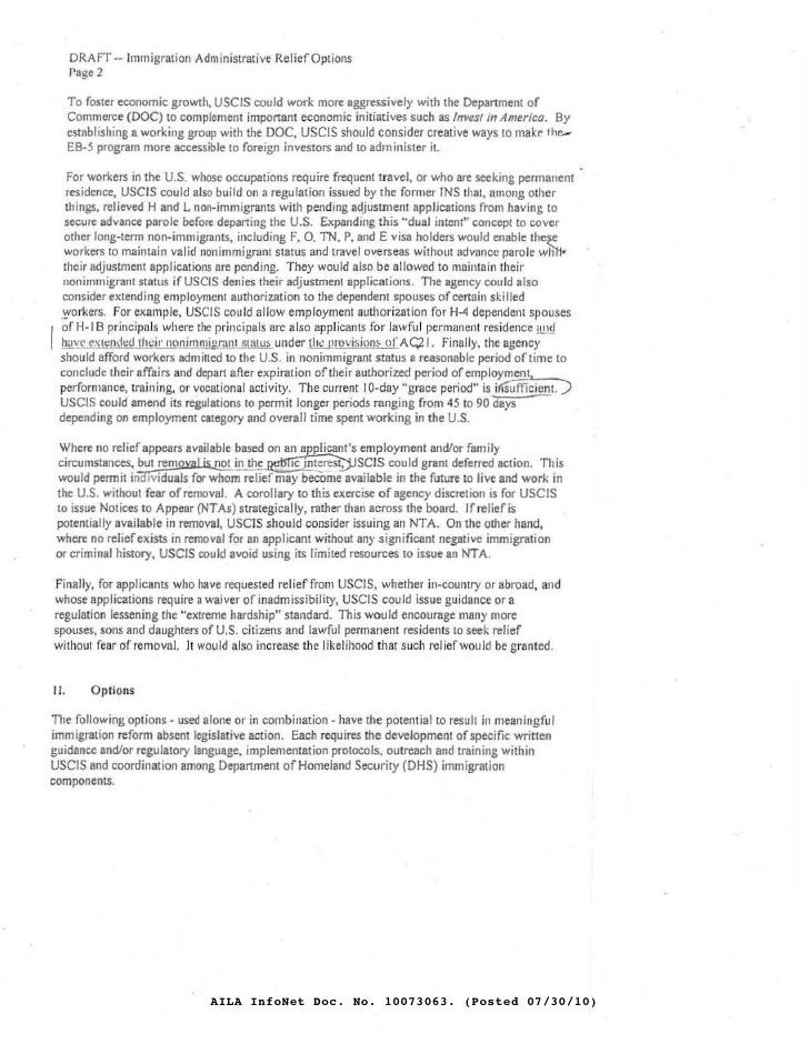 DRAFr -- Immigration Administrative Relief Options       Page 2        To fosler economic growth. USC/S could work more ag...