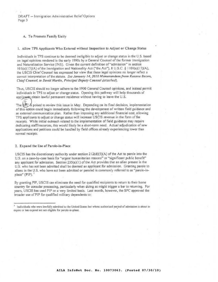DRAFT .- Immigration Administrative Relief Options     Page 3            A. To Promote Fllmil)' Unit)'      1. Allow TPS A...