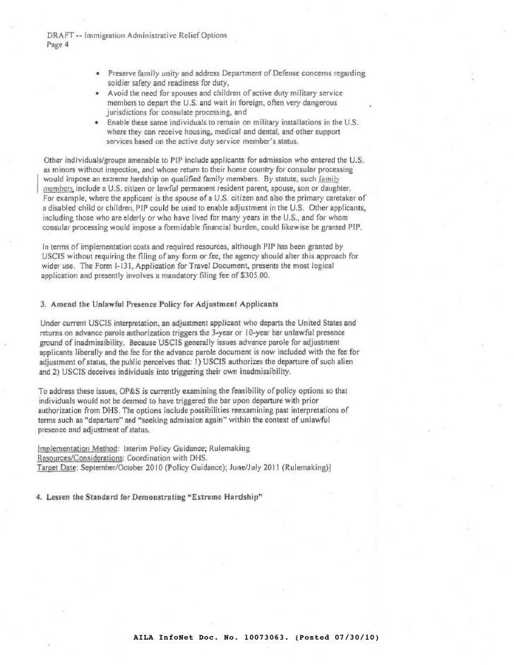 DRAFT -- Immigration Adminis!n:ltive Relief Options   Page 4                    •    Preserve family unity and address Dep...