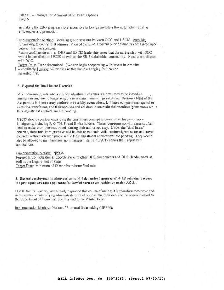 DRAFT --Immigration Administrati .. e RcliefOptions   Page 6    in making the £B-.'5 program more accessible to foreign in...