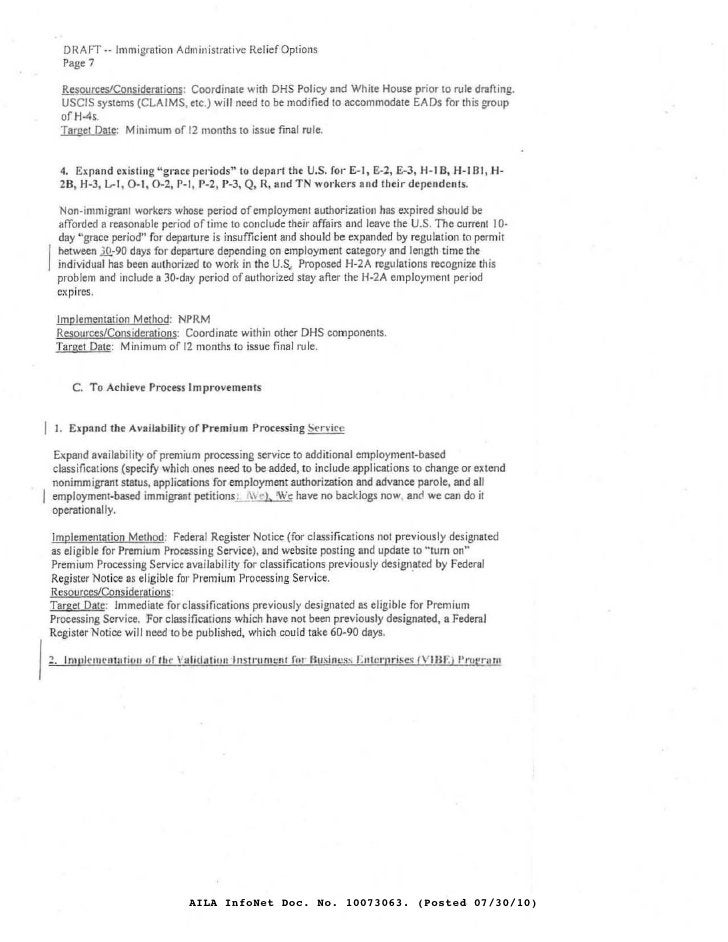 DRAFT·- Immigration Administrative Relief Options       Page 7        Resources/Considerations: Coordinate with DHS Policy...