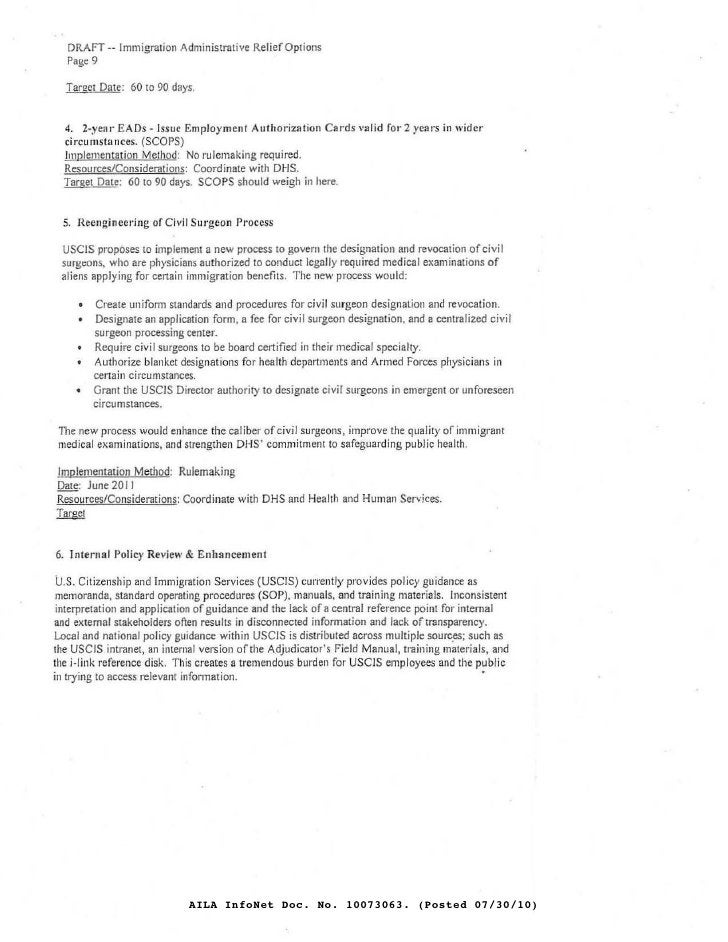DRAFT -- Immigration Administrative ReliefOplions      Page 9       Target Date : 601090 days.        4. 2-yell l' EADs - ...
