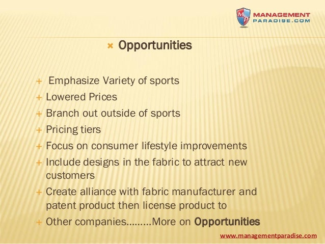 under armour swot Find the latest and comprehensive swot & pestle analysis of under armour, a multinational firm that sells sports accessories and apparel.
