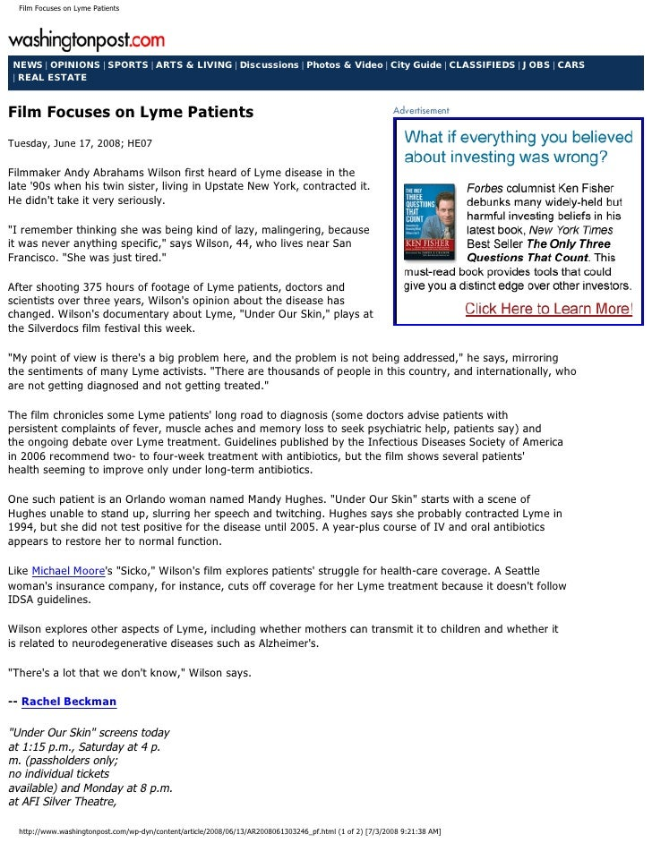 Film Focuses on Lyme Patients NEWS | OPINIONS | SPORTS | ARTS & LIVING | Discussions | Photos & Video | City Guide | CLASS...