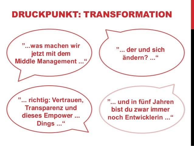 """DRUCKPUNKT: TRANSFORMATION  """"...was machen wir  jetzt mit dem  Middle Management ...""""  """"... der und sich  ändern? ...""""  """"...."""
