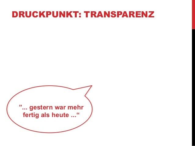 """DRUCKPUNKT: TRANSPARENZ  """"... gestern war mehr  fertig als heute ..."""""""
