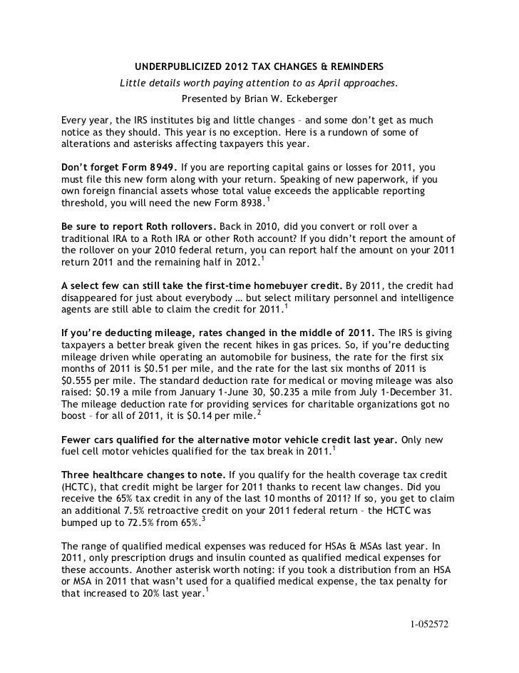 Underpublicized 2012 Tax Changes Amp Reminders 3 12 2012