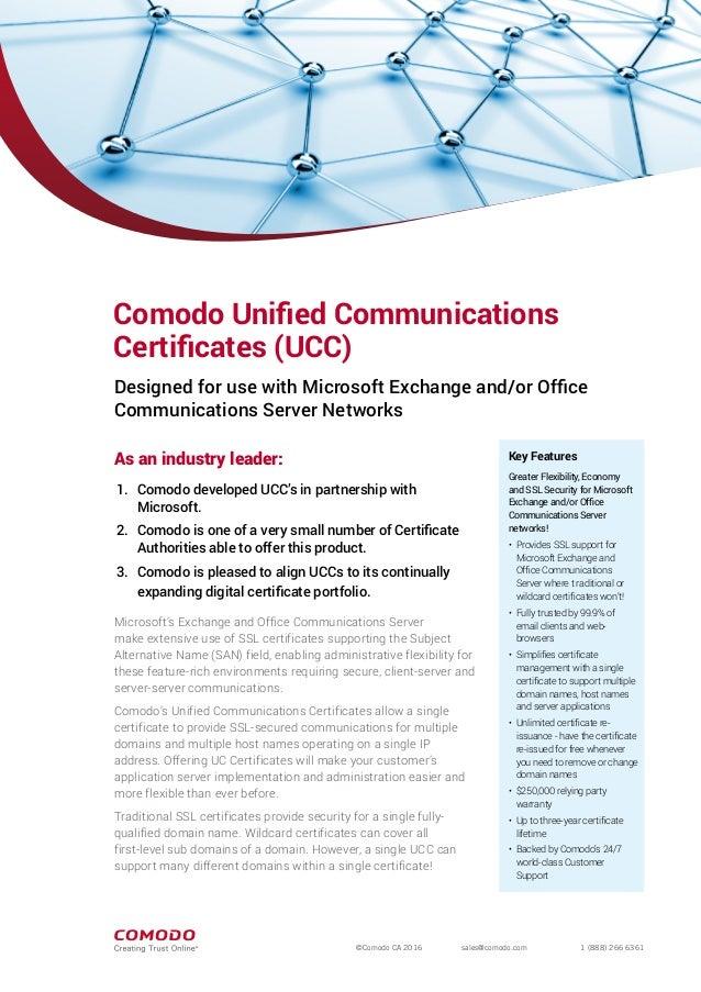 Understand Comodo UCC SSL Certificate (Unified Communication SSL)