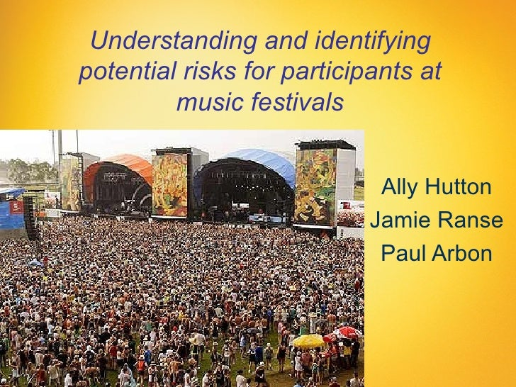 Understanding and identifyingpotential risks for participants at         music festivals                             Ally ...