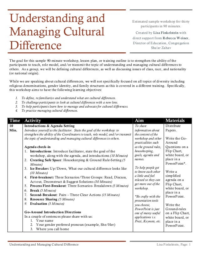 Understanding and Managing Cultural Difference  Estimated sample workshop for thirty participants in 90 minutes. Created b...