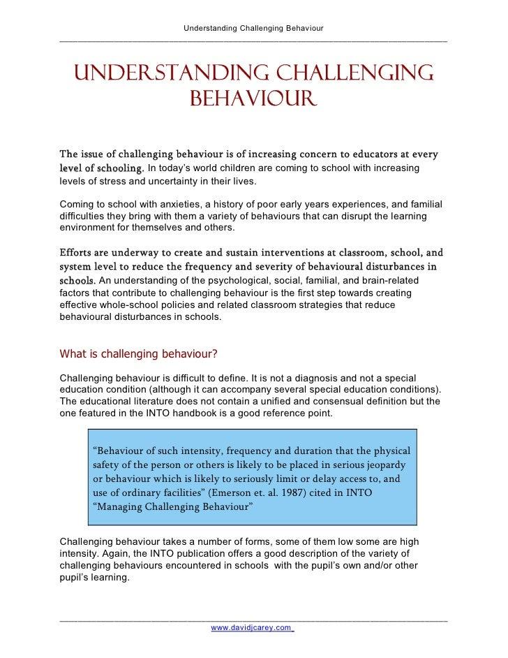 Understanding Challenging Behavior Slide 2