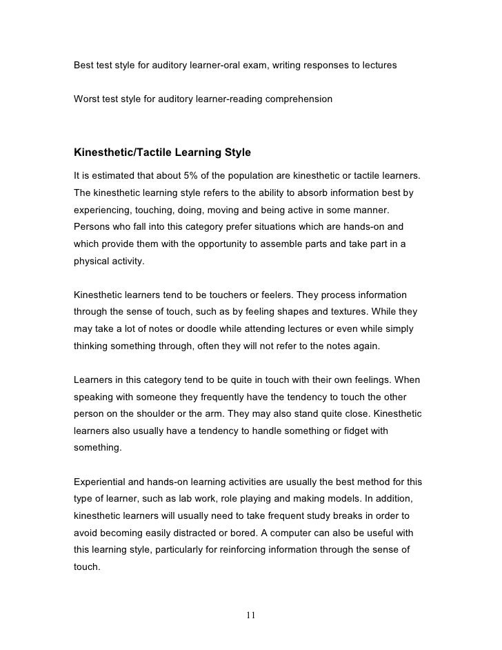 understanding learning styles  11 best test style