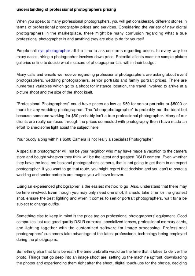 Insight Into Professional Photographers Pricing