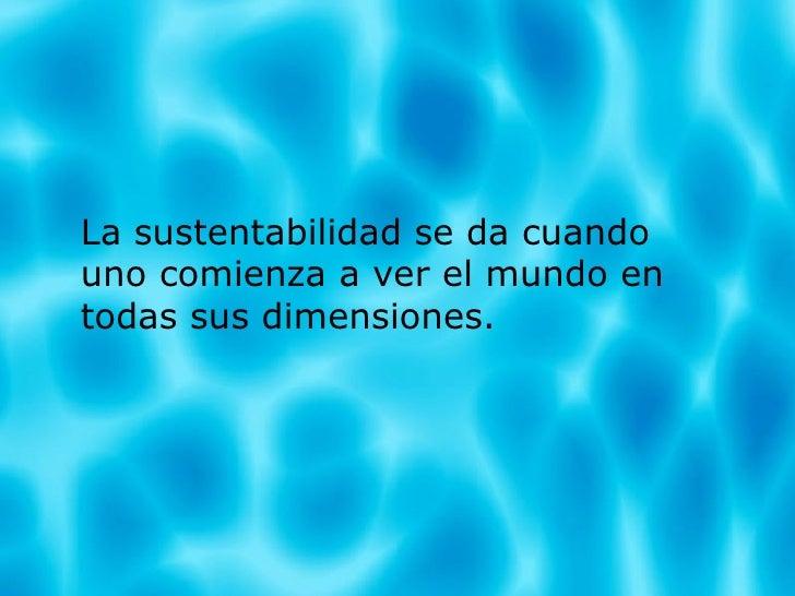 La sustentabilidad se da cuando uno comienza a ver el mundo en todas sus dimensiones.