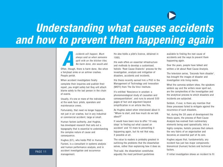 Understanding what causes accidents and how to prevent them happening again                A                              ...