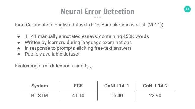 14 System FCE CoNLL14-1 CoNLL14-2 BiLSTM 41.10 16.40 23.90 Neural Error Detection First Certificate in English dataset (FC...