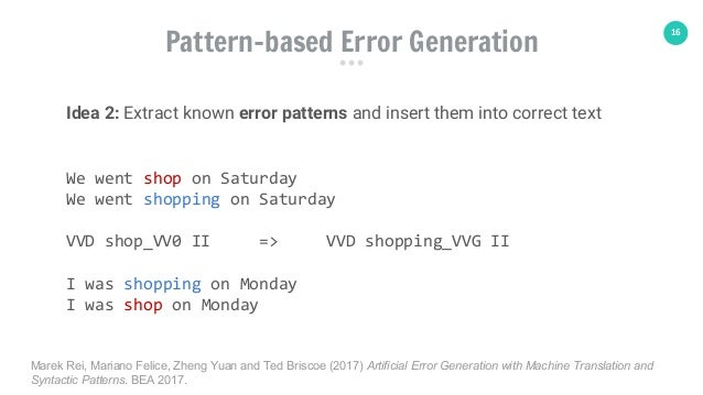 16 Pattern-based Error Generation Idea 2: Extract known error patterns and insert them into correct text We went shop on S...
