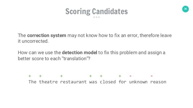 26 The correction system may not know how to fix an error, therefore leave it uncorrected. How can we use the detection mo...