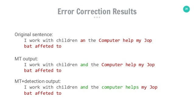 29 Original sentence: I work with children an the Computer help my Jop bat affeted to MT output: I work with children and ...