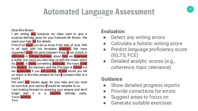 3 Automated Language Assessment Dear Mrs Brown, I am writing you because my class want to give a surprise birthday party f...