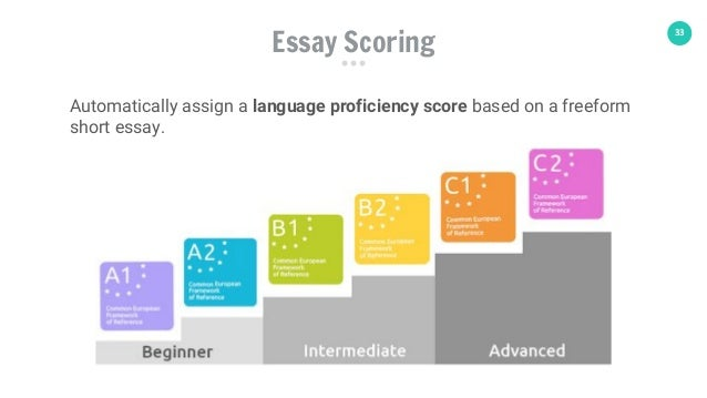 33 Essay Scoring Automatically assign a language proficiency score based on a freeform short essay.
