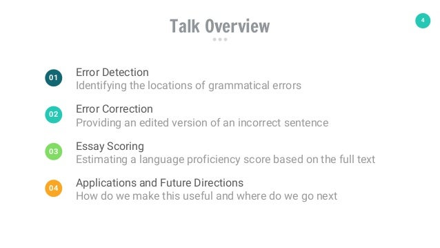 4 Talk Overview Error Detection Identifying the locations of grammatical errors 01 Error Correction Providing an edited ve...