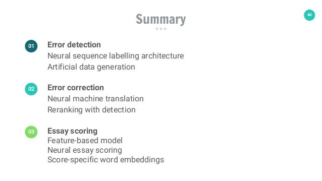 44 Summary Error detection Neural sequence labelling architecture Artificial data generation 01 Error correction Neural ma...