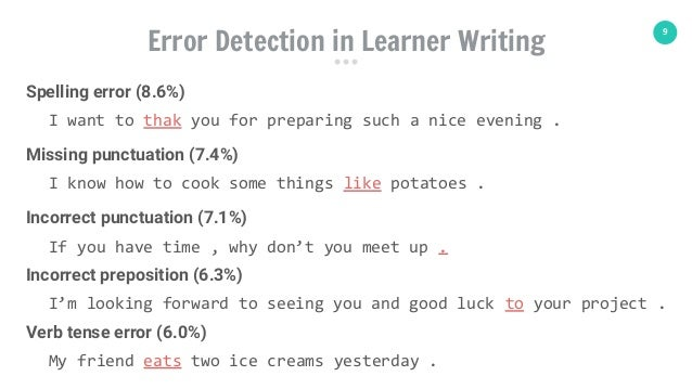 9 I want to thak you for preparing such a nice evening . Error Detection in Learner Writing Spelling error (8.6%) I know h...