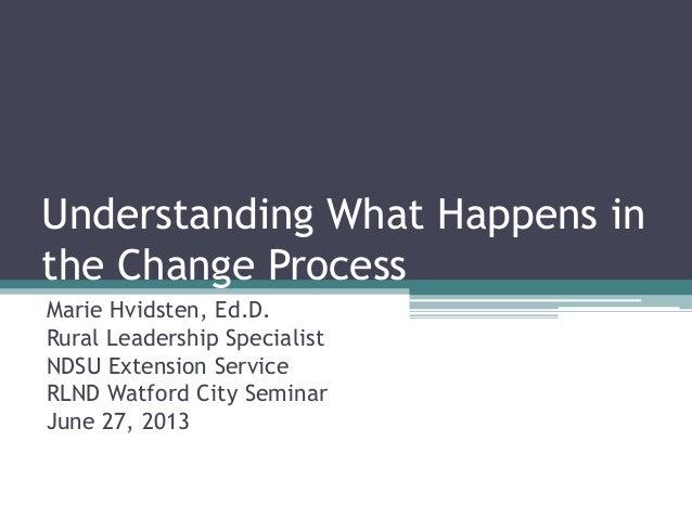 Understanding What Happens in the Change Process Marie Hvidsten, Ed.D. Rural Leadership Specialist NDSU Extension Service ...