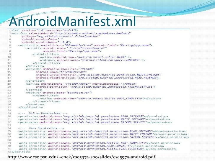AndroidManifest.xml<br />http://www.cse.psu.edu/~enck/cse597a-s09/slides/cse597a-android.pdf<br />